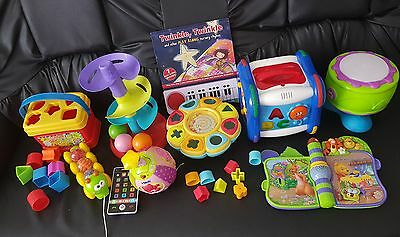 baby toys bundle . Chicco Activity cube. Drum . Vtech ball. Bucket with shapes