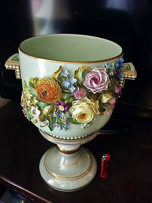 Fine Antique c 1820 Flower Encrusted Porcelain  Coalport Coalbrookdale vase pot