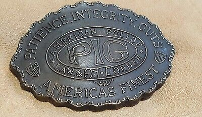"Vintage Belt Buckle Patience,integrity,guts ""pig"" Solid Brass"