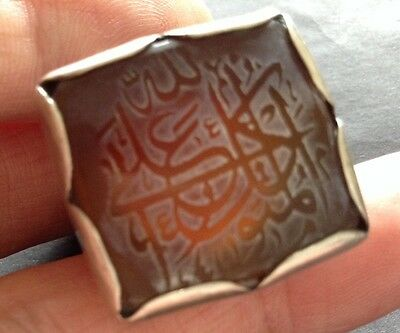 Middle Eastern CARNELIAN AND SILVER SEAL RING Arabic Script