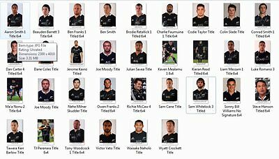 """New Zealand All Blacks 32 Photos 6""""x4"""" Full 2015 Rugby World Cup Winners Squad"""