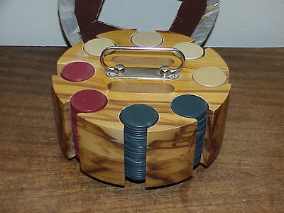 Vintage Clay Poker Chips ~ W/  Hardwood Carousel & Lid ~ Complete Set 200 Chips