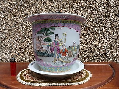 Chinese Famille Rose Large Pink Planter 23 cm High Stamped Hand Painted Rare !!!