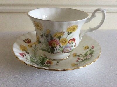 ROYAL ALBERT TEA CUP AND SAUCER  - wildflowers & butterfly