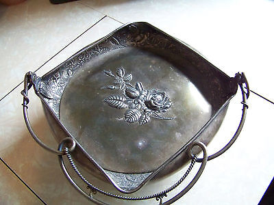 Vintage Wilcox Silver Plate Brides Basket w/ Rose, Lined with Animals #4777