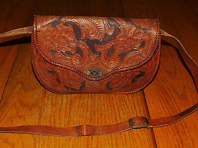 Vintage Brown Tooled Leather Crossbody Saddle Bag Purse