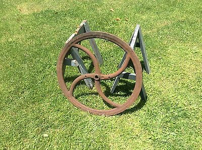 Antique Large Coffee Mill Cast Iron Wheel, Four Curved Spokes, Rustic Shabby