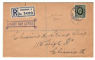 GB - George V - 9d olive green on Registered First day cover - Chiswick cancel