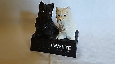 Metal vintage Art Deco antique black/white whisky advertiser Scotty dog doorstop