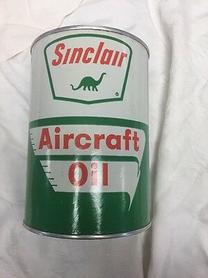 NEAR MINT FULL 1960s Vintage SINCLAIR AIRCRAFT MOTOR OIL Old 1 qt. Can