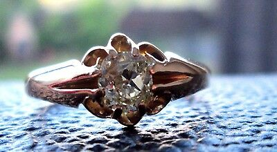Vintage Antique Victorian 18ct Gold Old Mine Cut .60ct Yellow Diamond Ring