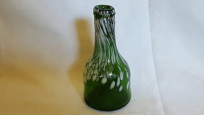 Nailsea green & white glass vintage Victorian antique bottle vase