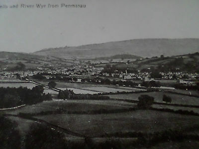 Old Postcard Builth Wells And River From Penmaenau