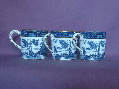 Booths Vintage Original Real Old Willow Coffee Cans & Saucers Three Sets