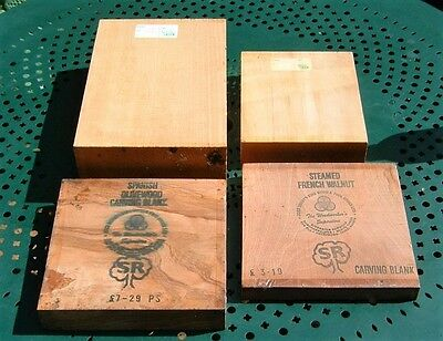 4 Wood Carving Blocks - 2 Lime, 1 Steamed French Walnut, 1 Spanish Olive Wood