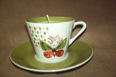 Homemade Teacup Candle and Saucer Soy Wax Green Tropical Scent Butterfly Orange