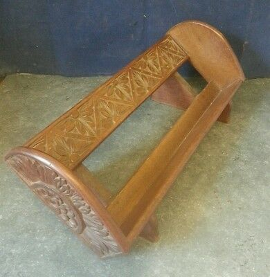 Antique Hand Carved Wooden Book Trough Rack Shelf 16""