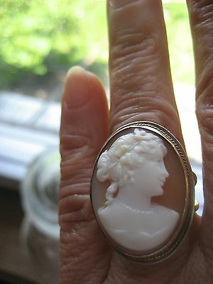 Antique Art Deco Large Carved Shell Cameo Ring 14k Yellow Gold Size 7
