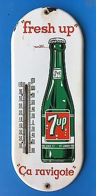 VINTAGE 7up PORCELAIN THERMOMETER ADVERTISING SIGN SODA