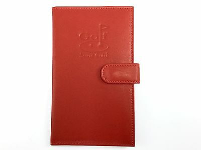 Leather Golf Score Card Pen Pencil Holder MALA LEATHER Red