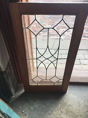 """Antique Leaded And Beveled Glass Cabinet Door Or Window 16"""" X 30"""