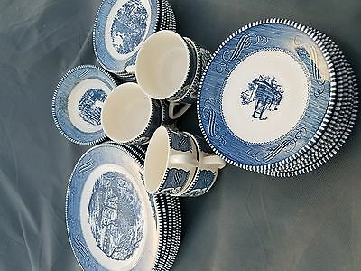 Royal China Currier And Ives Blue Set Of Dishes 32 Pieces