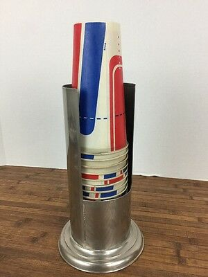 Vintage Paper Cup Dispenser Metal Tube w/ Cups patent date 1915