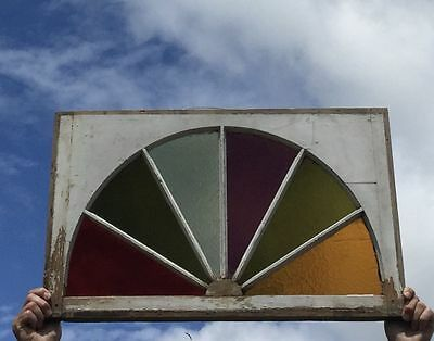 Antique Stained Glass Arched Dome Top Window Sash Half Round Old