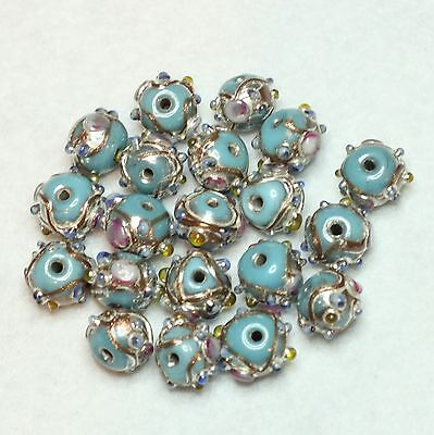20 INDIAN LAMPWORK GLASS BEADS 8mm ROUND  PALE BLUE  (BBB588)