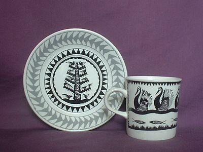 Scottie Wilson Designs. Royal Worcester Black On White Coffee Can  & Saucer  .