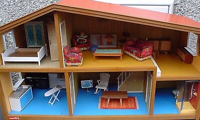 Vintage 1970S Lundby Dolls House Full Of Original Furniture - Look