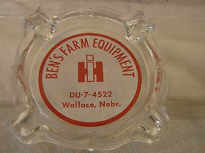International Harvester Wallace Nebraska Glass Ashtray Ben's Farm Equipment 7-45