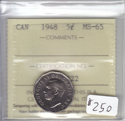 1948 Canadian 5 Cent Coin Iccs Cert Ms-65