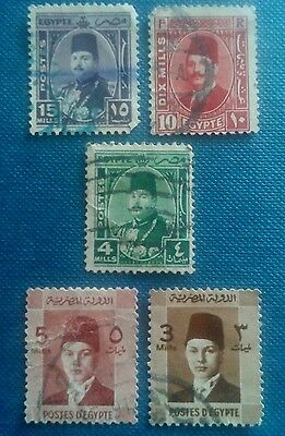 set of 5 egypt stamps