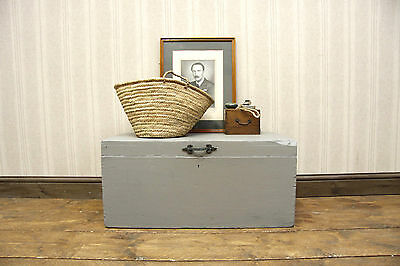 Vintage Painted Pine Box, Rustic Grey Tool Chest, Small Coffee Table Trunk