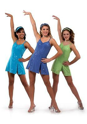 Dance Costume Large Child Blue Sparkle Dress Jazz Tap Solo Competition Pageant