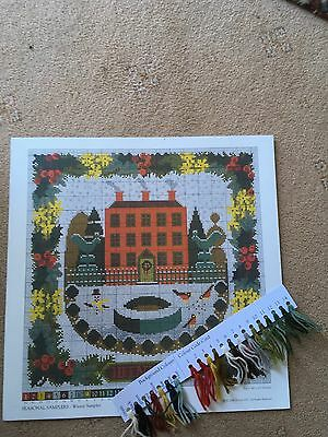 Elizabeth Bradley Seasonal Sampler Winter Chart and some background wool