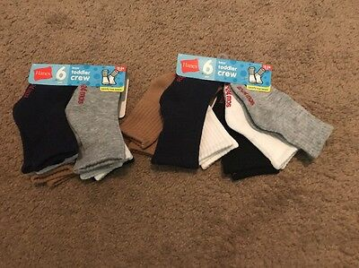 Lot Of Hanes Boys Toddler Crew Socks Size 12 To 24 Months