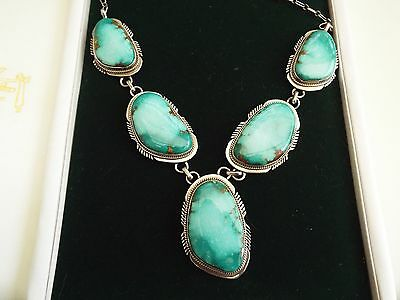 Stunning Navajo Fox Turquoise and Silver Necklace. J. NELSON. Reduced