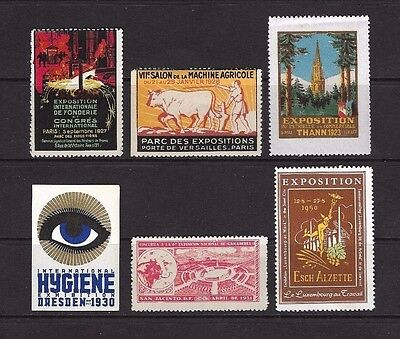 Exhibition Cinderella stamps x 6 1927 to 1950 All U/M.