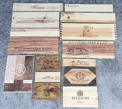 Long Wood Wine Box 15 Panel lot. Crate lids & ends NAPA France Italy Vineyards
