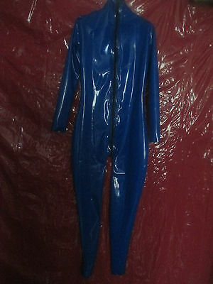 Latex-Anzug Catsuit blau Gr M 0,40mm RV Rubber Gummi
