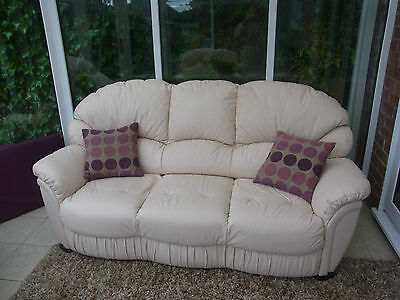 Cream Leather 3 Piece Suite With A Recliner Chair