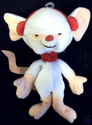 1998 PINKY & THE BRAIN The Brain Plush Doll White Mouse WB Warner Brothers