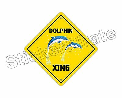 "*Aluminum* Dolphin Crossing Funny Metal Novelty Sign 12""x12"""