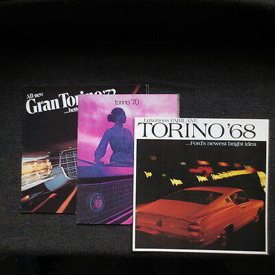 Three Ford Torino brochures Canadian market 1968 1970 1972