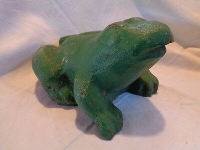 Antique FROG TOAD Doorstop Cast Iron Garden Statue ORIGINAL LARGE HEAVY 20 Lbs!