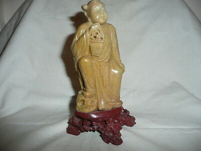Antique Hand Made/Carved Soap Stone Oriental/Chinese Women Statue,H15cm.