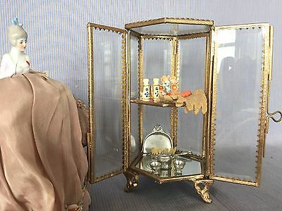 RARE Gorgeous Ormolu Casket Display Case Glass Jewellery Box ~ Amazing Condition