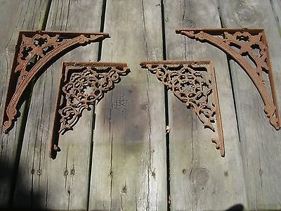 Two Sets (4) Ornate Victorian ANTIQUE CAST IRON SHELF BRACKETS 1880's